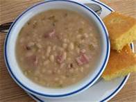 white bean and ham soup with cornbread