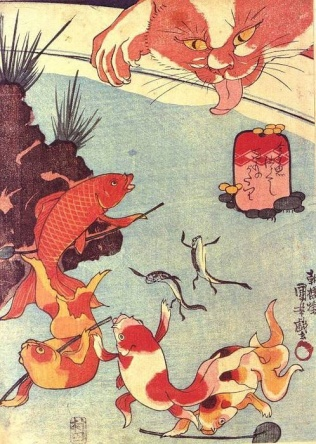 cat and koi pond - Cat and koi pond by Utagawa kuniyoshi (歌川国芳)  January 1, 1797 -  April 14, 1861