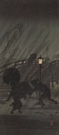 """Sudden Rain"" Author: Takahashi, Shotei (Japanese, 1871-1945)"