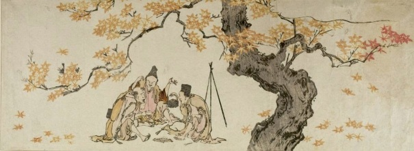 Night Watchmen Under Maple Tree - Hokusai