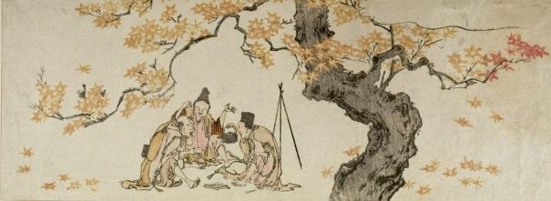 Night Watchmen Under Maple Tree - Hokusai