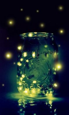 fireflies in jar - public domain image